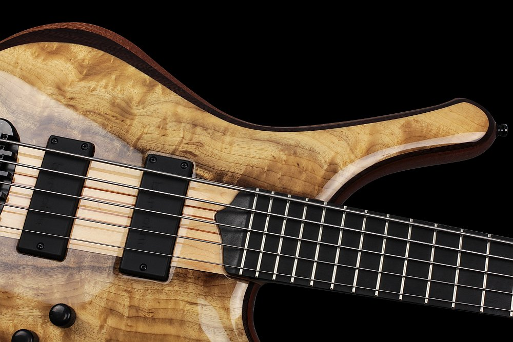 Mayones Comodous 5 Custom Shop Myrtlewood top Trans Natural Gloss finish - Ebony fingerboard, Ferd Wagner 24 jumbo 18% Nickel-Silver Hard frets