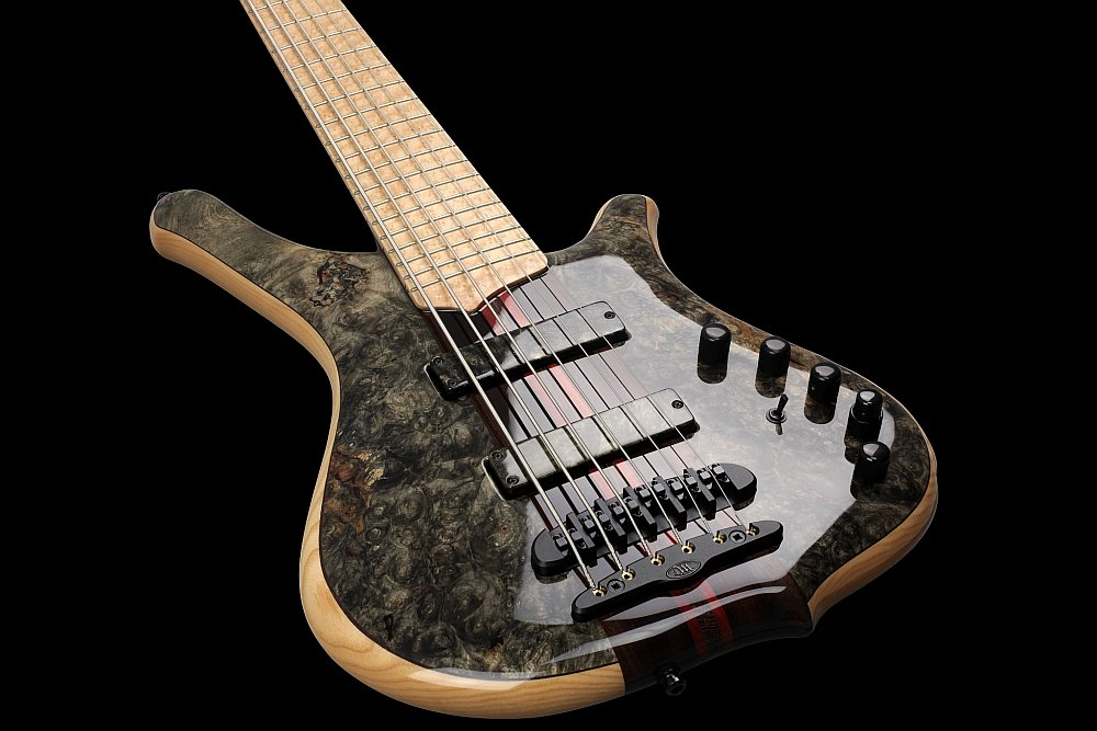 Mayones Comodous 6 Custom Shop Buckeye Burl top Trans Natural Gloss finish - Mayones X26 two-piece bridge (CNC-routed from a solid block of brass)