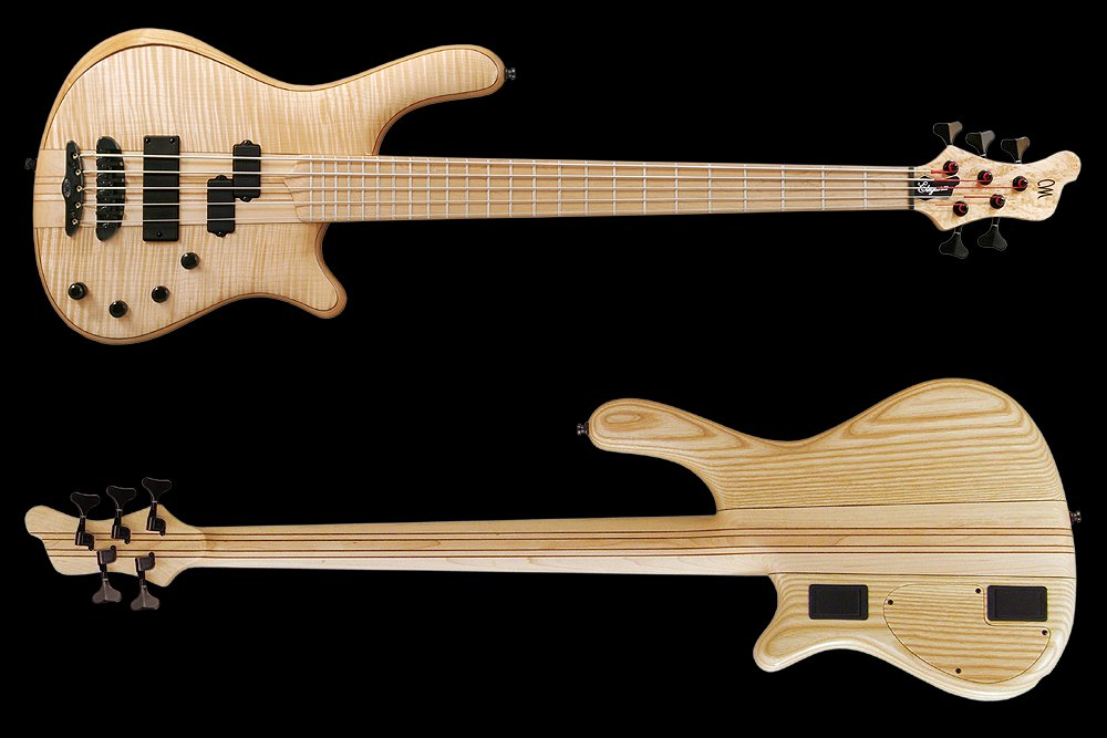Mayones Elegance Classic 5 Flamed Maple top Trans Natural Gloss finish - front & back