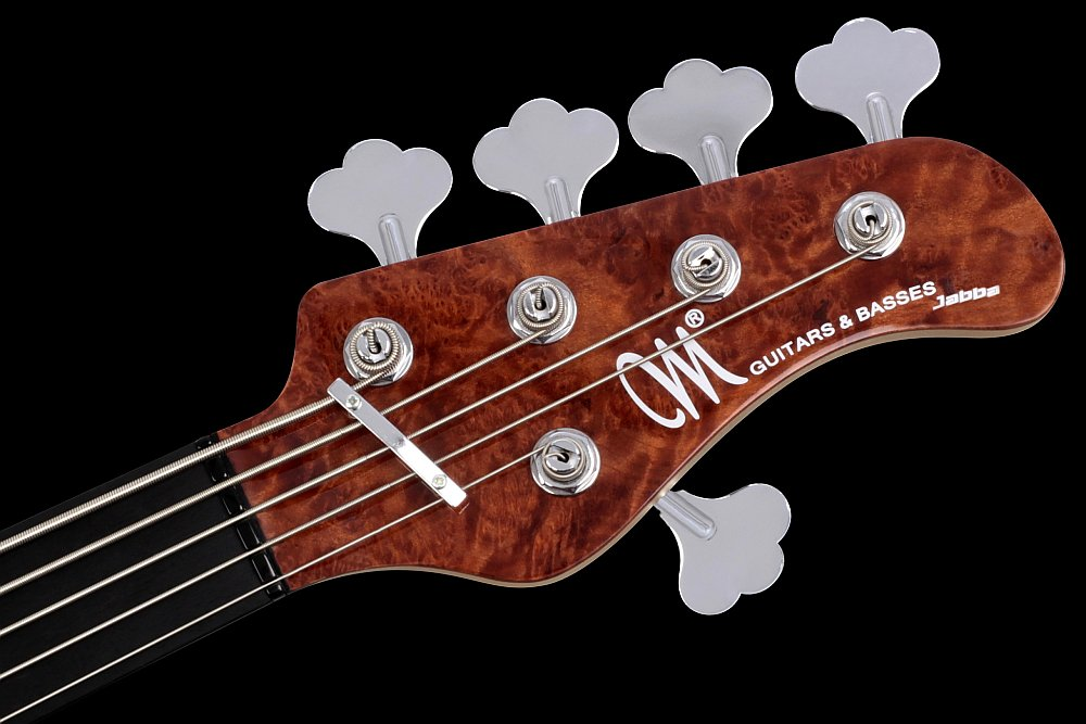 Mayones Jabba Custom 5 Fretless Piezo Redwood top Trans Natural Gloss finish - Straight head, front topped with Redwood