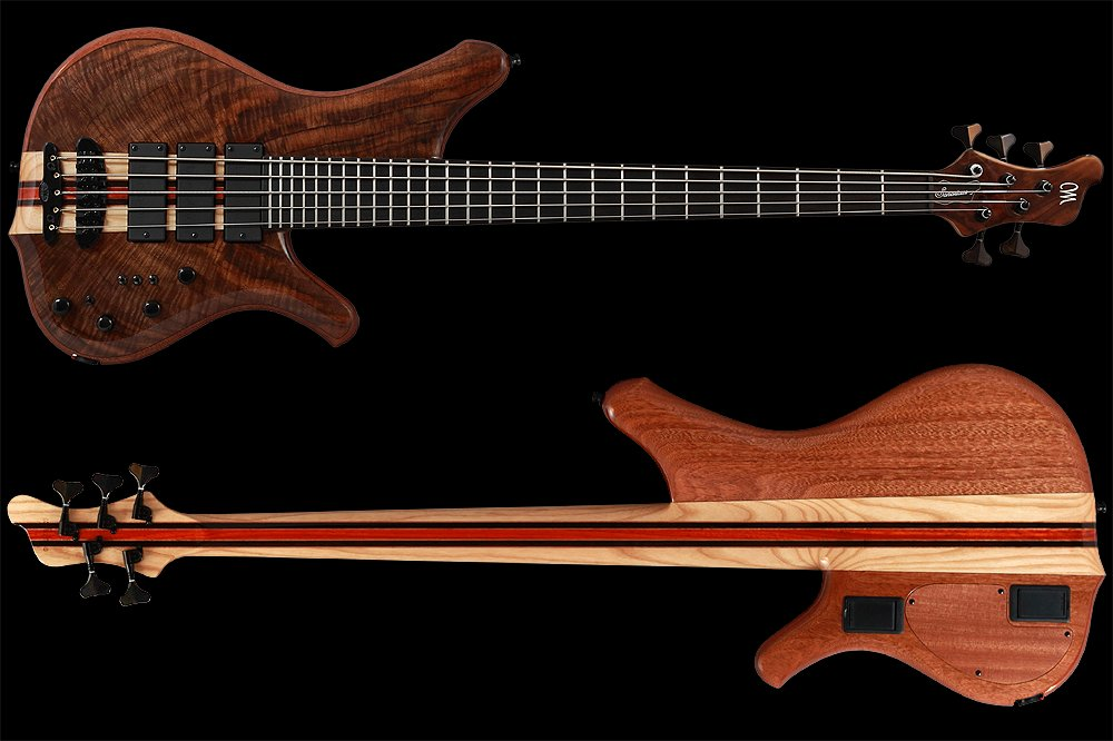 Mayones Sonorious Classic 5 Walnut Claro Trans Natural Gloss finish - front & back