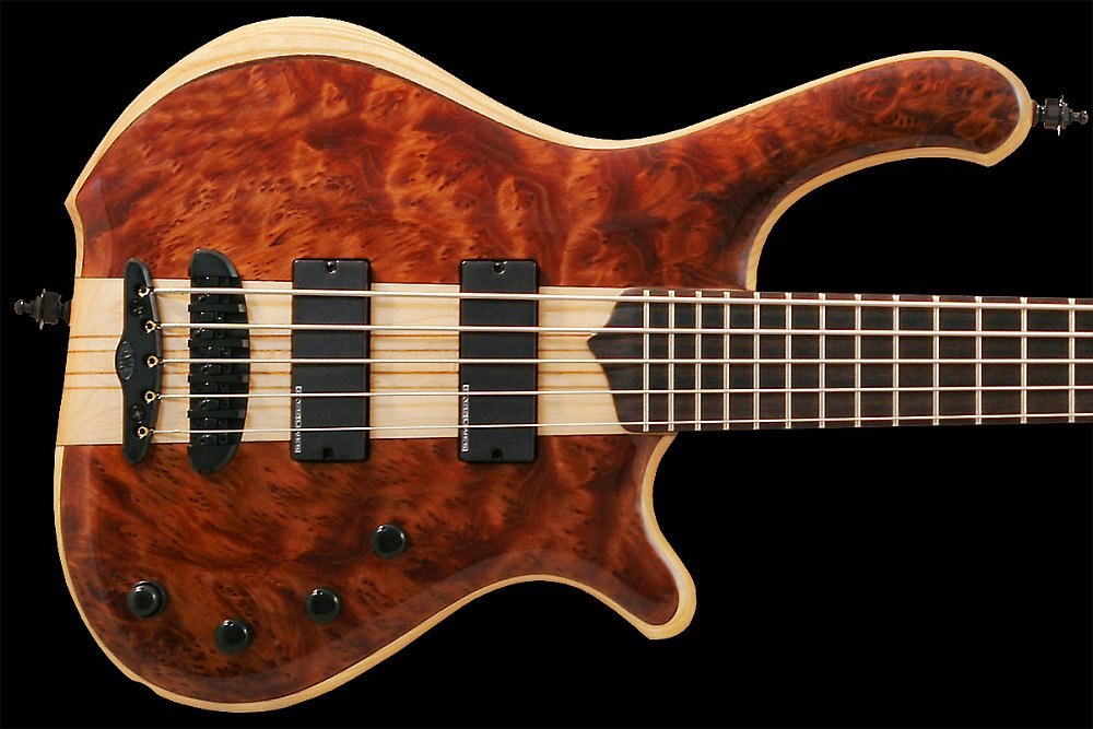 Mayones Victorious Classic 5 Figured Redwood top Trans Natural Gloss finish - Figured Redwood top, Profiled American Ash body back