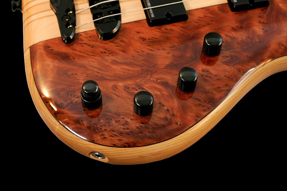 Mayones Victorious Classic 5 Figured Redwood top Trans Natural Gloss finish - Seymour Duncan Basslines STC-3A 3-band EQ preamp