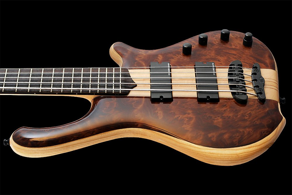 Mayones Victorious Classic 5 Figured Redwood top Trans Natural Gloss finish - Rosewood fretboard, 24 jumbo 18% Nickel-Silver Hard frets