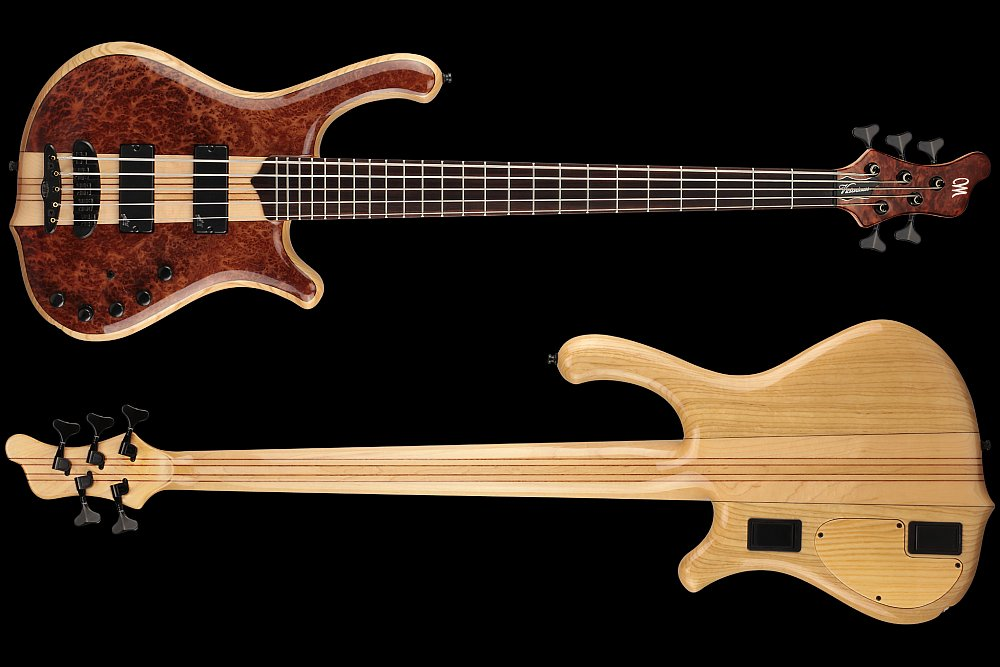 Mayones Victorious Classic 5 Figured Redwood top Trans Natural Gloss finish - front & back