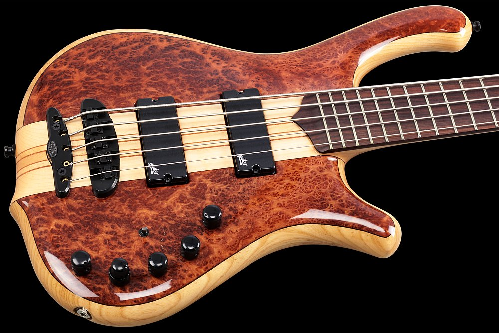 Mayones Victorious Classic 5 Figured Redwood top Trans Natural Gloss finish - Figured Redwood top, Profiled Swamp Ash body back, 9-ply Maple/Mahogany neck-thru-body section