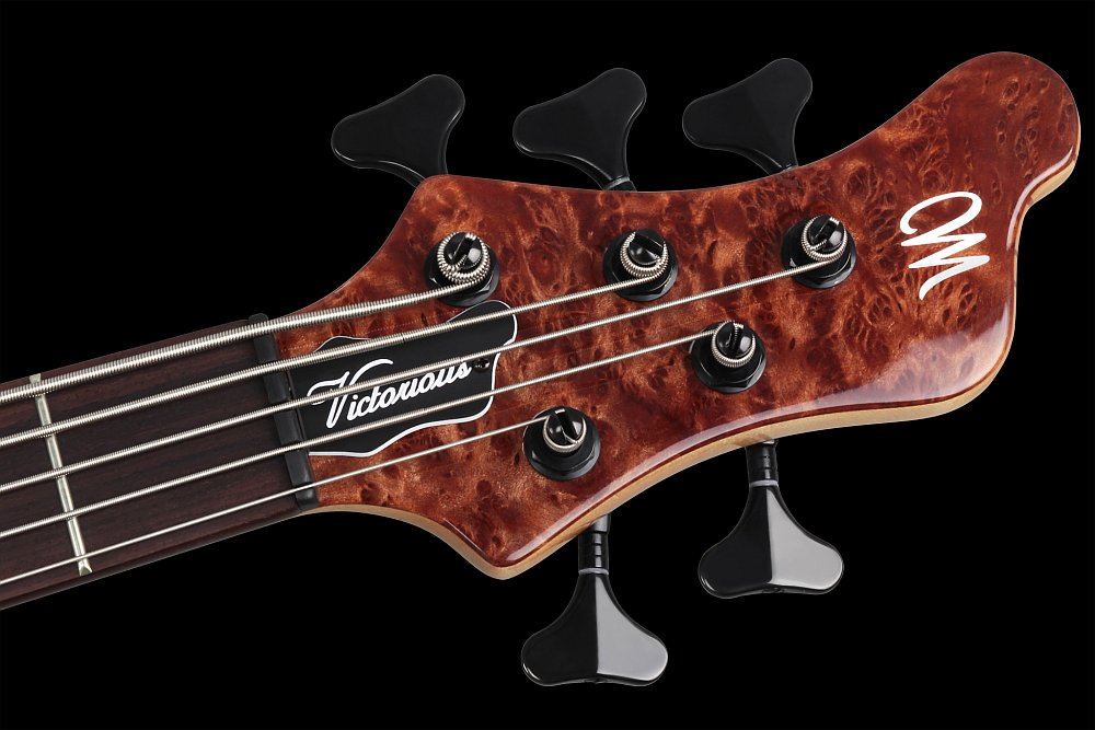 Mayones Victorious Classic 5 Figured Redwood top Trans Natural Gloss finish - Angled headstock, Ebony nut, Schaller M4 mini 3+2 tuners