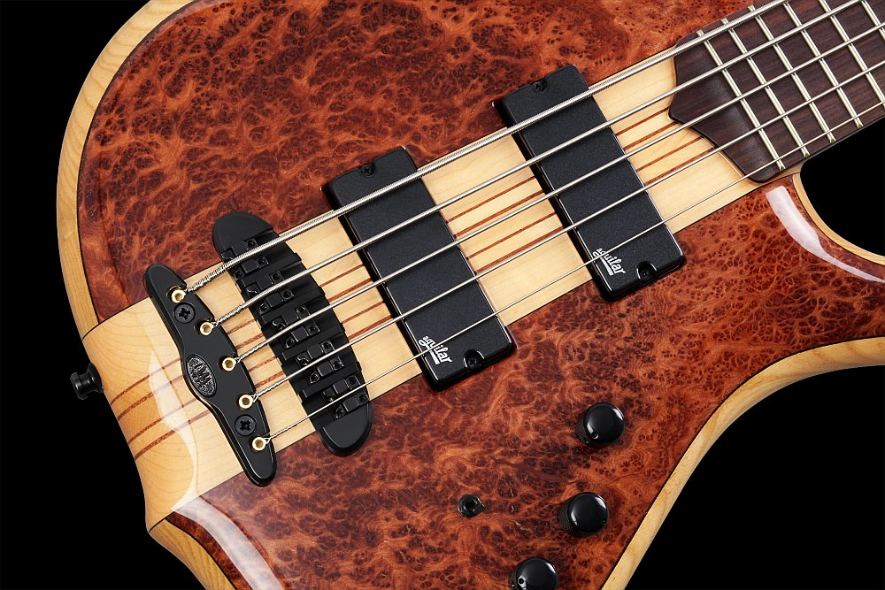 Mayones Victorious Classic 5 Figured Redwood top Trans Natural Gloss finish - Mayones X25 two-piece bridge (CNC-routed from a solid block of brass), Aguilar DCB G4 Dual Ceramic Bar Soapbar pickups