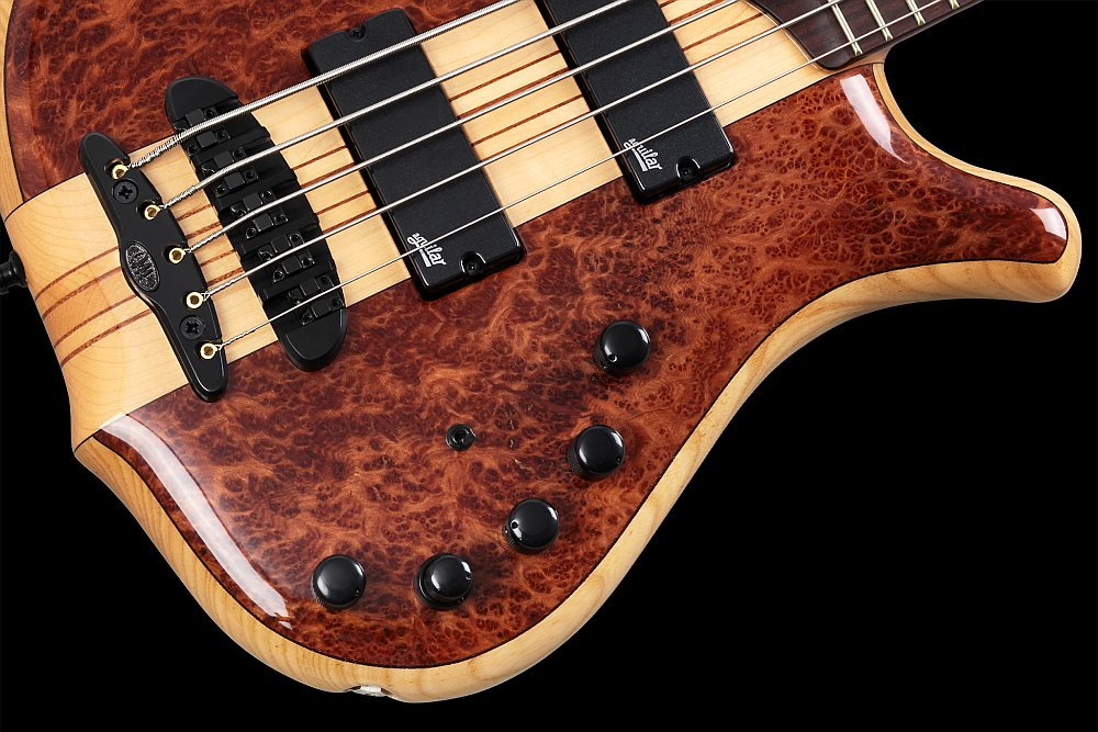 Mayones Victorious Classic 5 Figured Redwood top Trans Natural Gloss finish - Aguilar OBP-3 3-band EQ preamp + Passive Tone knob, mini switch for Active/Passive mode