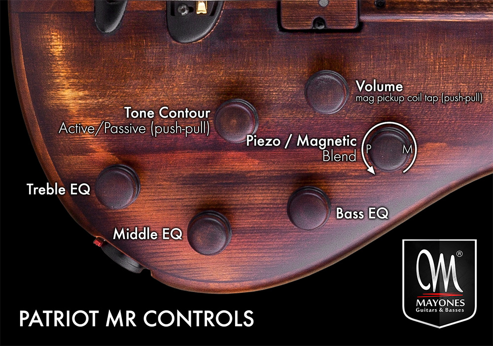 Patriot MR Fretless Series Basses Control Layout